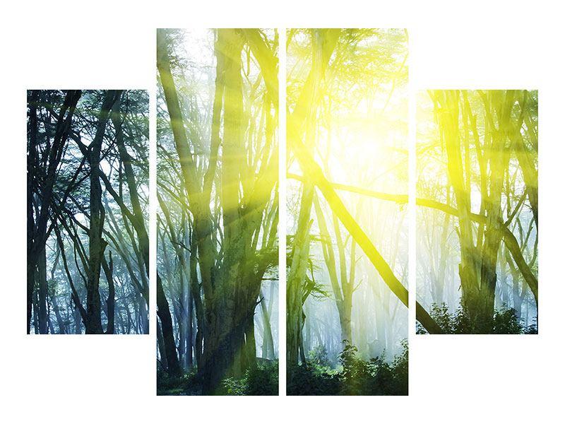 Metallic-Bild 4-teilig Sonnenstrahlen im Wald