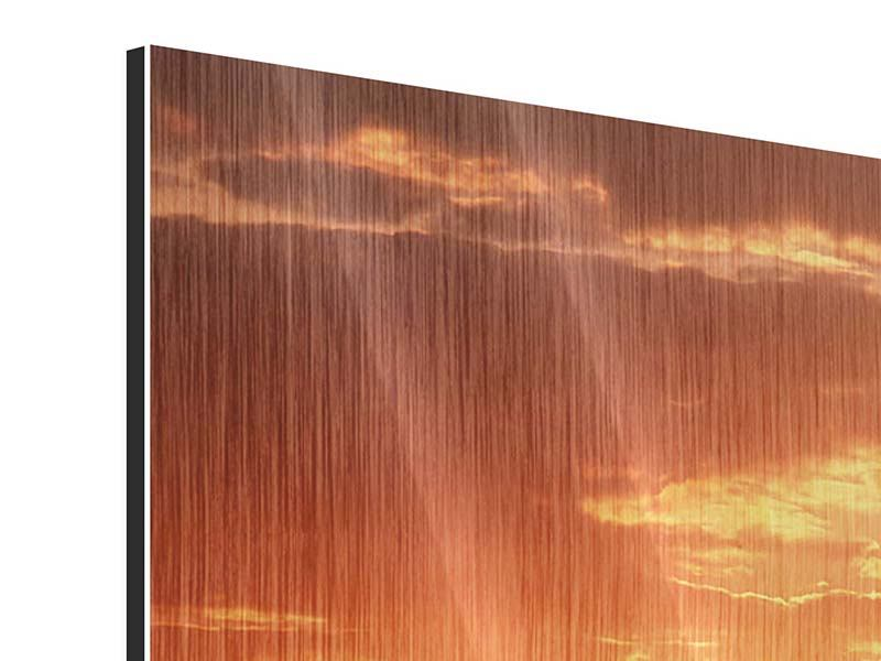 Metallic-Bild 4-teilig Sonnenuntergang in der Savanne