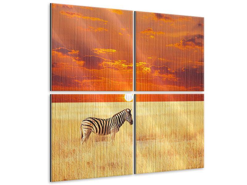 Metallic-Bild 4-teilig Zebra im Seregenti-Nationalpark
