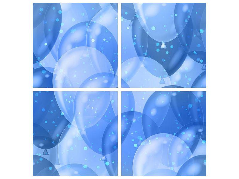 Metallic-Bild 4-teilig Blaue Ballons