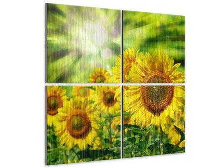 Metallic-Bild 4-teilig Die Sonne und die Blumen