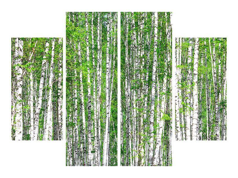 Metallic-Bild 4-teilig Der Birkenwald
