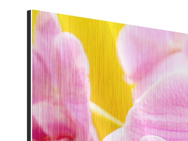 Metallic-Bild 4-teilig Königliche Orchideen