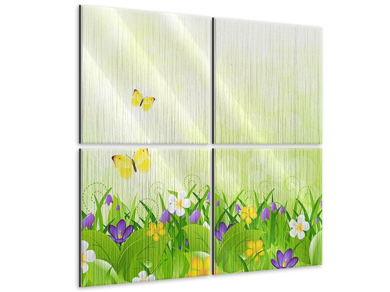 Metallic-Bild 4-teilig Lustige Schmetterlinge