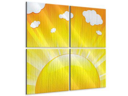Metallic-Bild 4-teilig Die Sonne geht auf