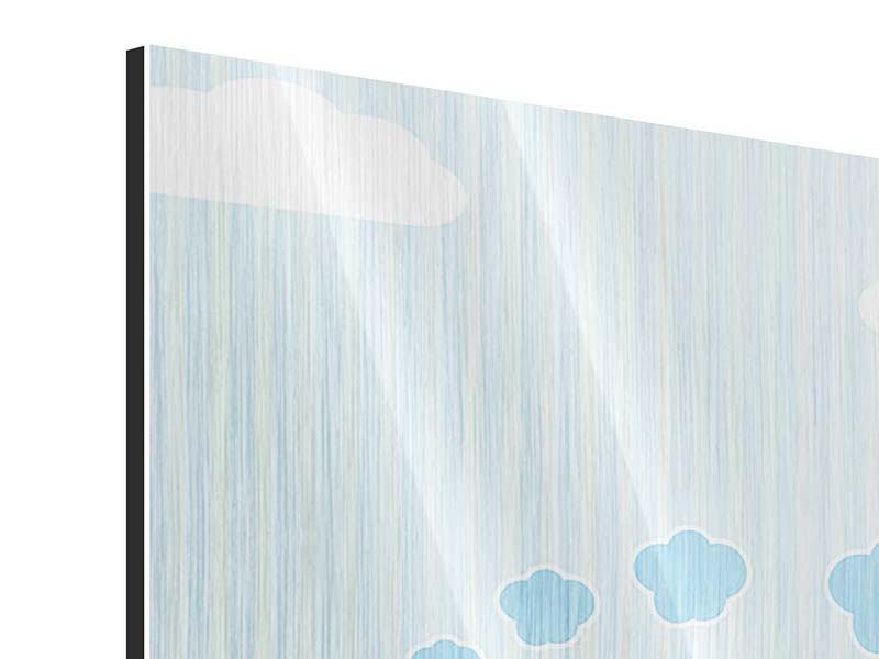 Metallic-Bild 4-teilig Der Regenbogenzug