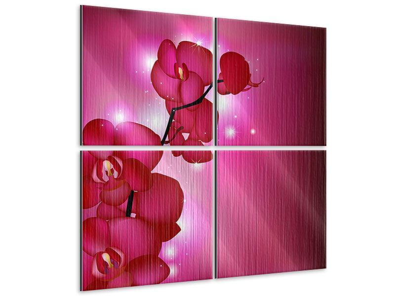 Metallic-Bild 4-teilig Orchideenmärchen