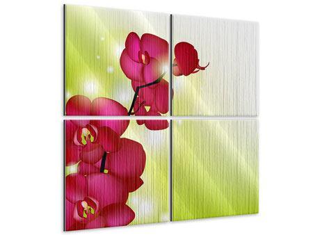 Metallic-Bild 4-teilig Heiligtum der Orchidee