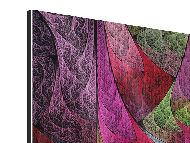 Metallic-Bild 4-teilig Fraktales Muster