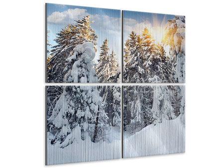 Metallic-Bild 4-teilig Tannen im Schnee