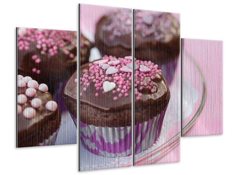 Metallic-Bild 4-teilig Muffins