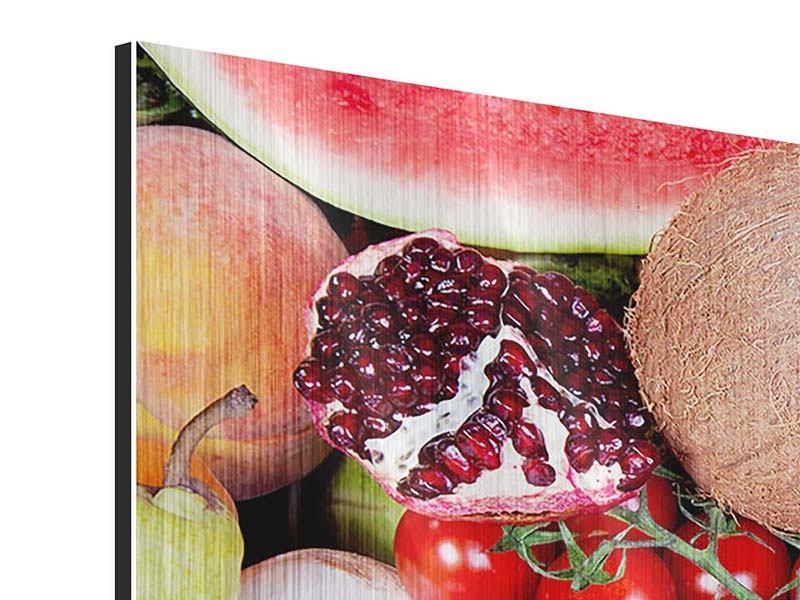Metallic-Bild 4-teilig Frisches Obst