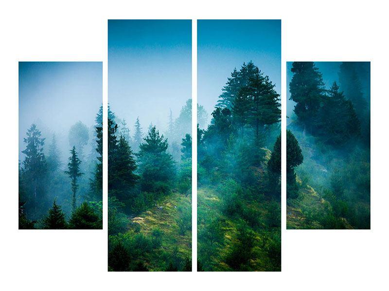 Metallic-Bild 4-teilig Geheimnisvoller Wald