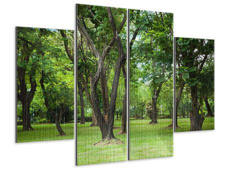 Metallic-Bild 4-teilig Kirschbaum-Garten