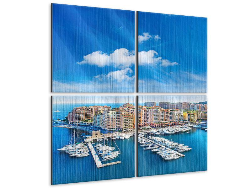 Metallic-Bild 4-teilig Skyline Panoramablick Jachthafen Monaco