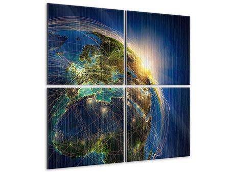 Metallic-Bild 4-teilig Der Planet Erde