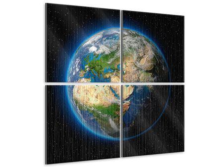Metallic-Bild 4-teilig Die Erde als Planet