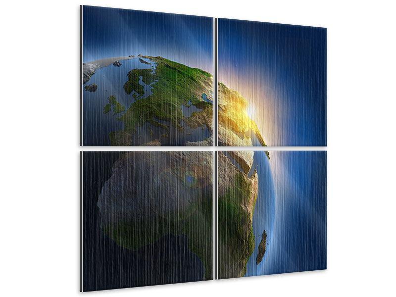 Metallic-Bild 4-teilig Sonne und Erde