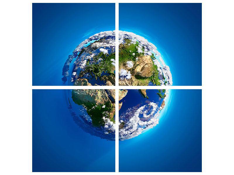Metallic-Bild 4-teilig Planet Earth