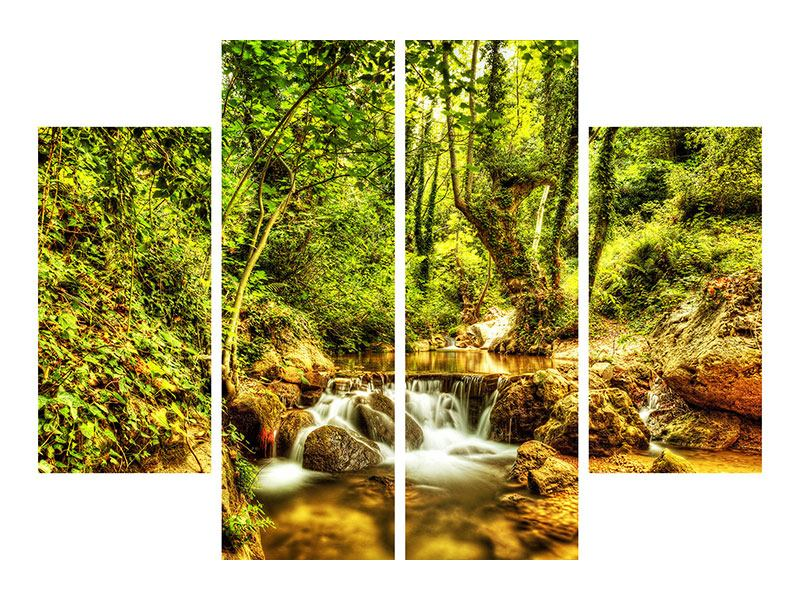 Metallic-Bild 4-teilig Wasserfall im Wald