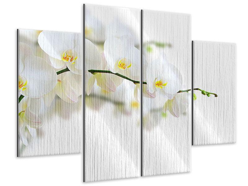 Metallic-Bild 4-teilig Weisse Orchideen