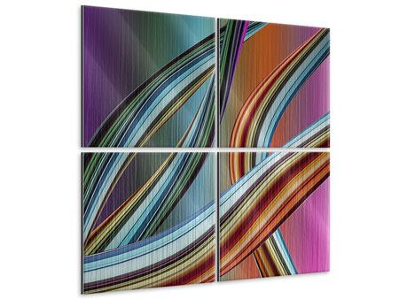 Metallic-Bild 4-teilig Wellengleich