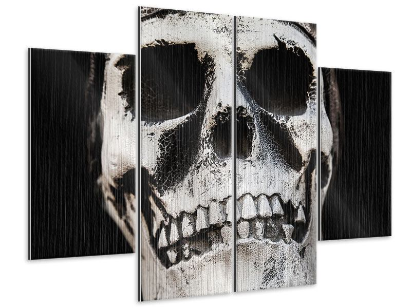 Metallic-Bild 4-teilig Skull