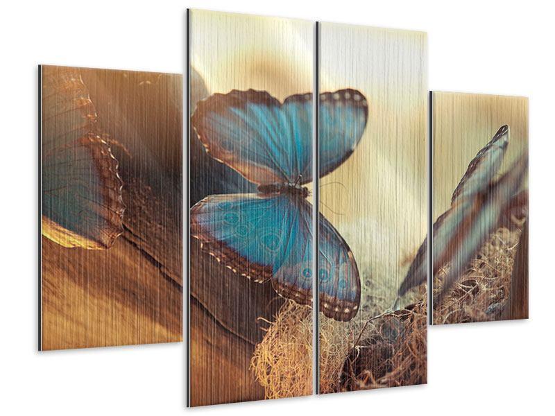 Metallic-Bild 4-teilig Schmetterlinge