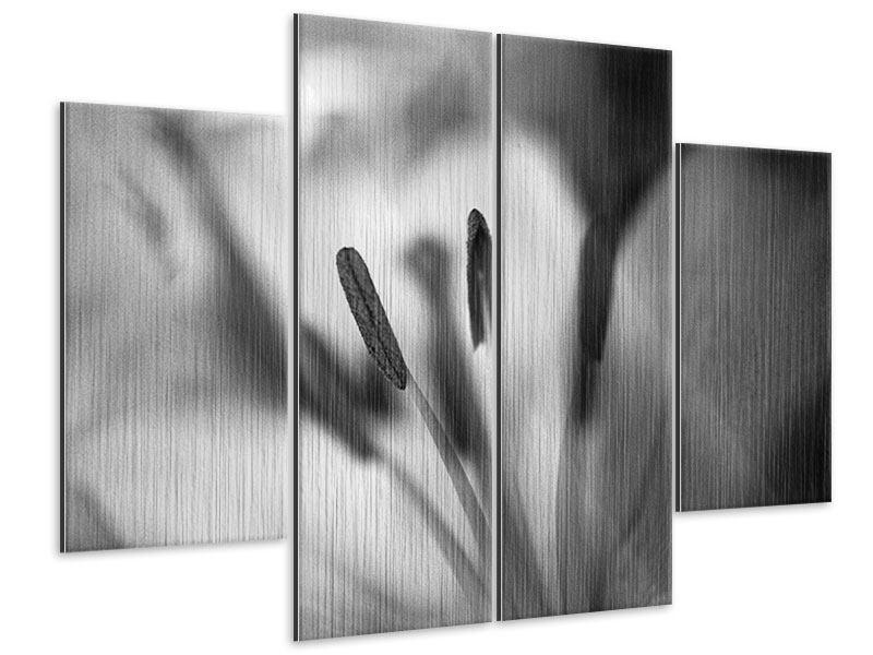 Metallic-Bild 4-teilig Makro Lilienblatt