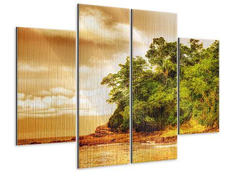 Metallic-Bild 4-teilig Sonnenuntergang am Ende des Waldes