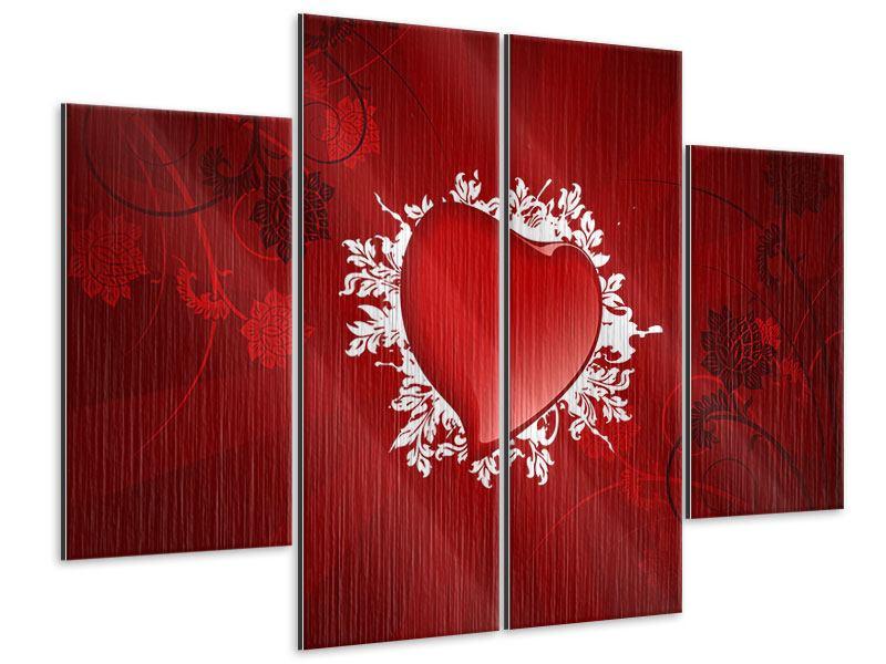 Metallic-Bild 4-teilig Flying Heart