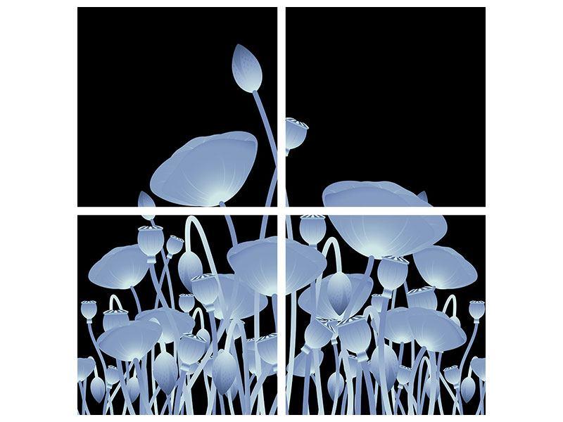 Metallic-Bild 4-teilig Futurische Blumen