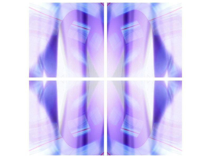 Metallic-Bild 4-teilig Abstrakte Sicht