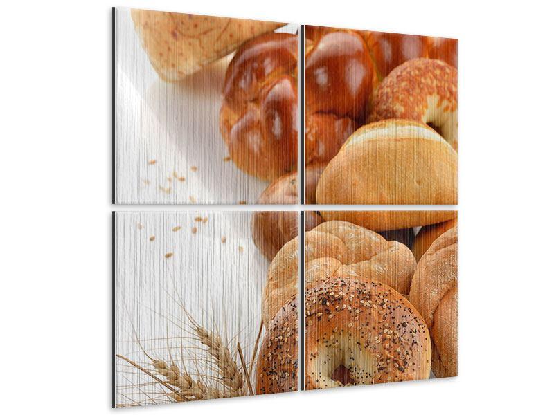 Metallic-Bild 4-teilig Frühstücksbrötchen