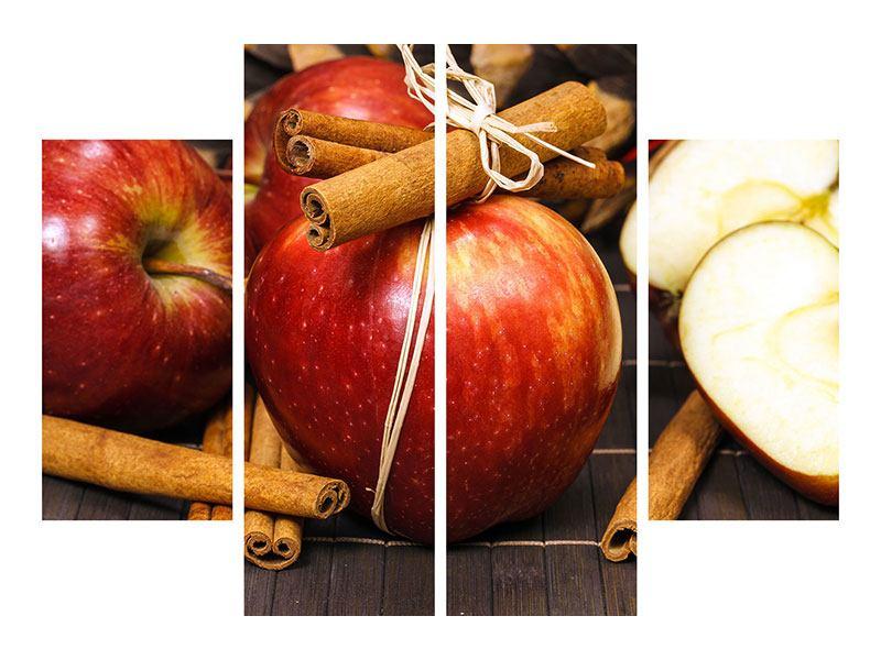 Metallic-Bild 4-teilig Äpfel