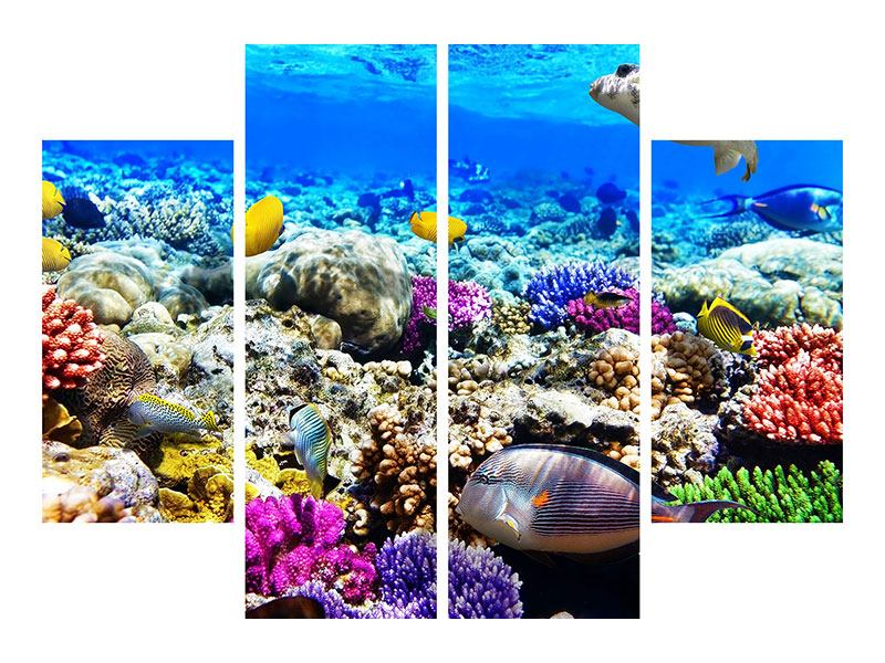 Metallic-Bild 4-teilig Fischaquarium