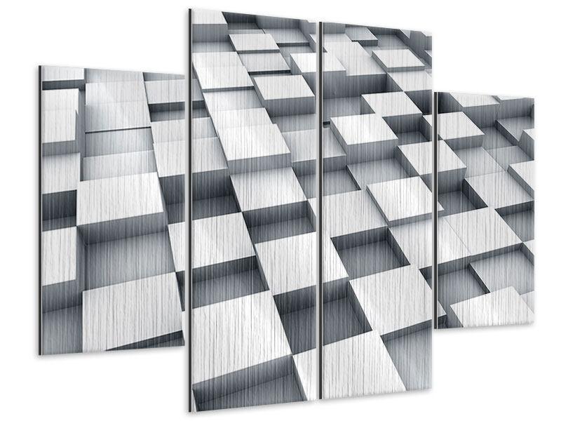 Metallic-Bild 4-teilig 3D-Kubus