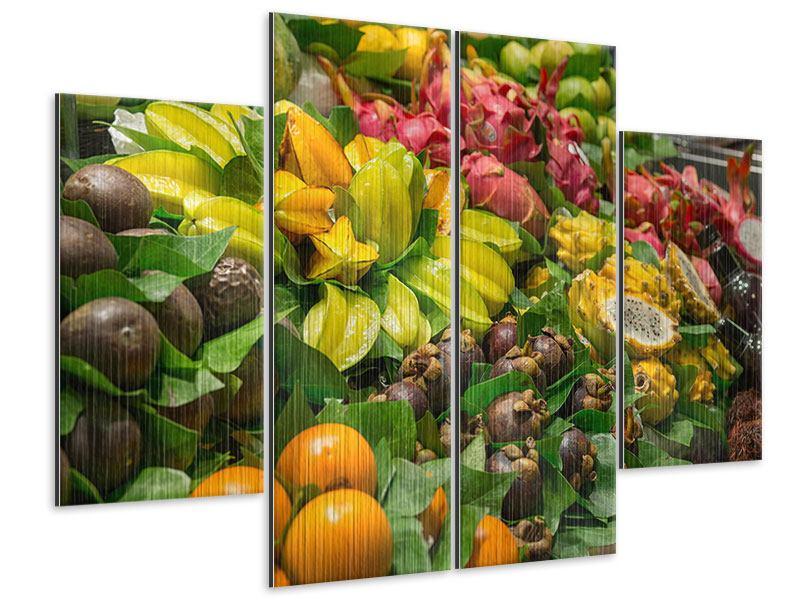 Metallic-Bild 4-teilig Früchte