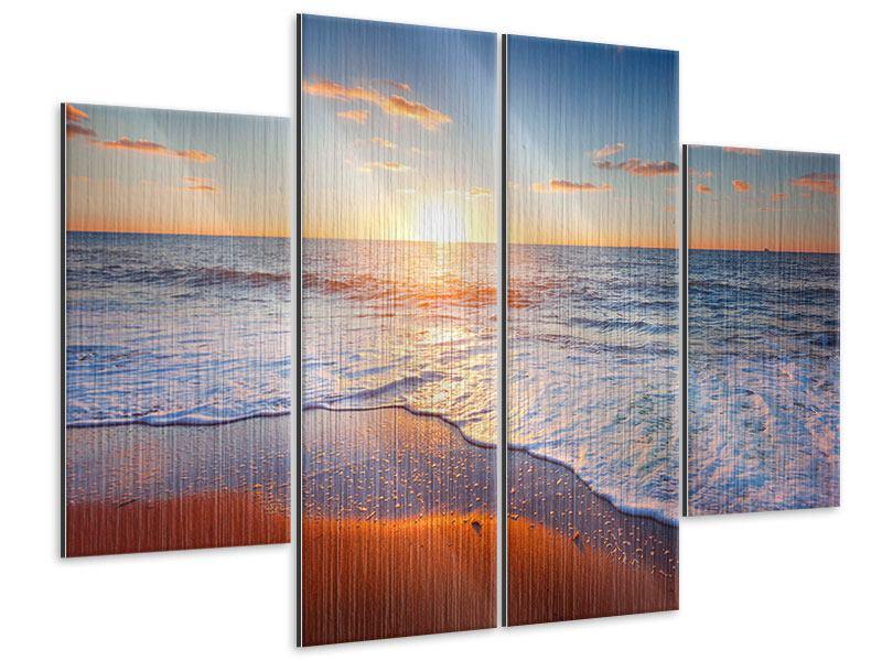 Metallic-Bild 4-teilig Sonnenuntergang am Horizont