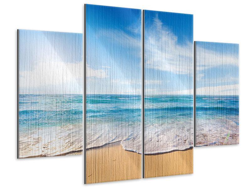 Metallic-Bild 4-teilig Spuren im Sand