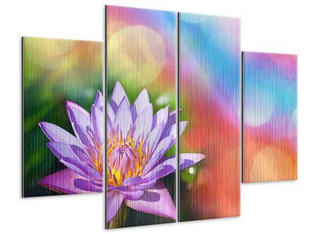 Metallic-Bild 4-teilig Colored Lotus