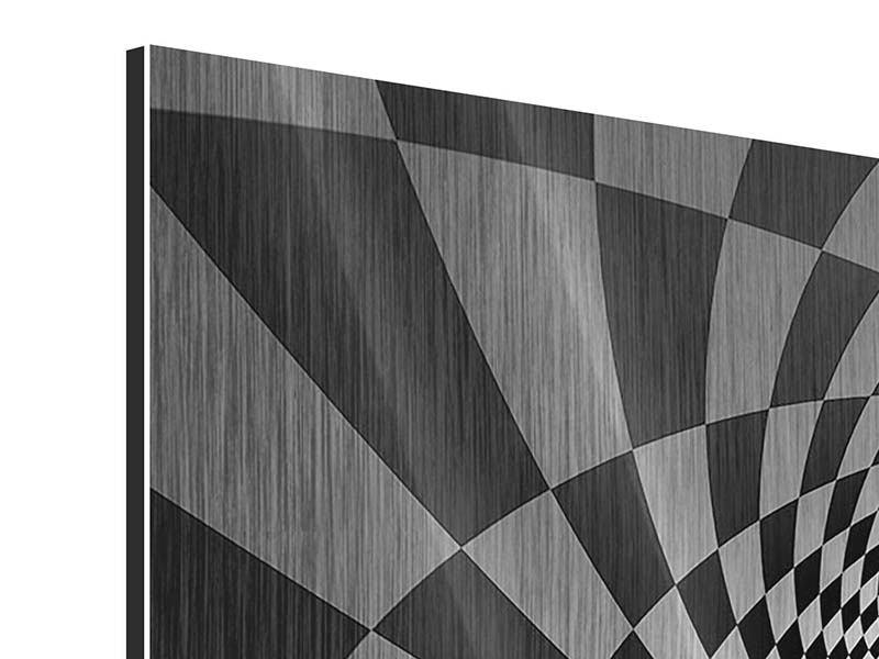 Metallic-Bild 4-teilig Abstraktes Schachbrett