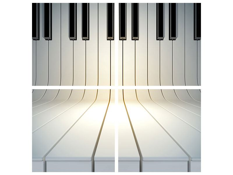 Metallic-Bild 4-teilig Klaviertasten