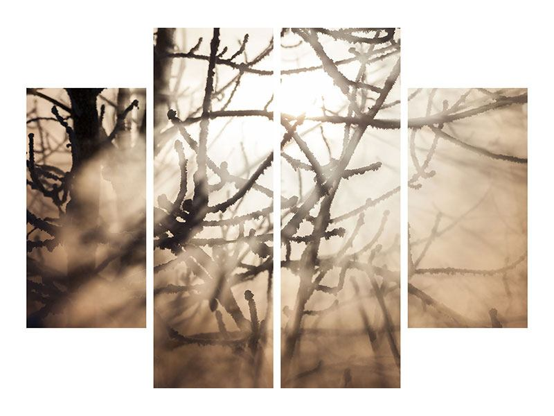 Metallic-Bild 4-teilig Äste im Schleierlicht