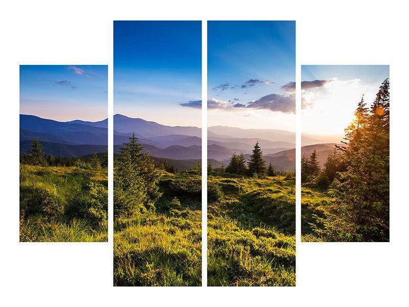 Metallic-Bild 4-teilig Friedliche Landschaft