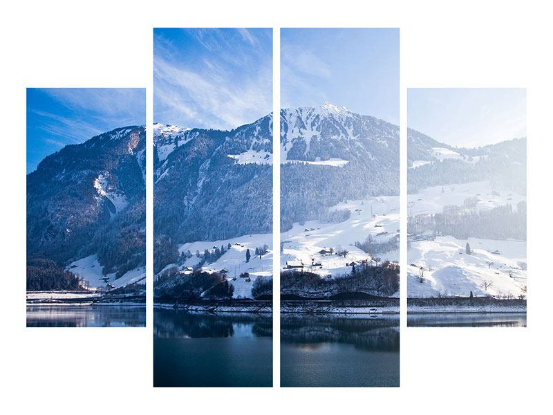Metallic-Bild 4-teilig Winterwunderland