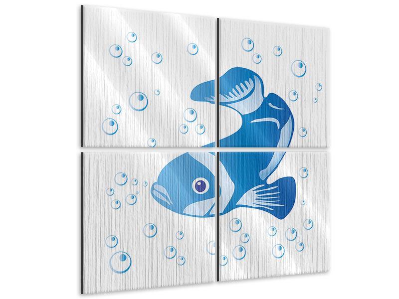 Metallic-Bild 4-teilig Fischi