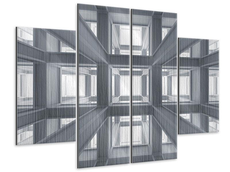 Metallic-Bild 4-teilig Räume