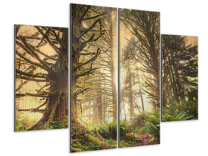 Metallic-Bild 4-teilig Sonnenuntergang im Dschungel