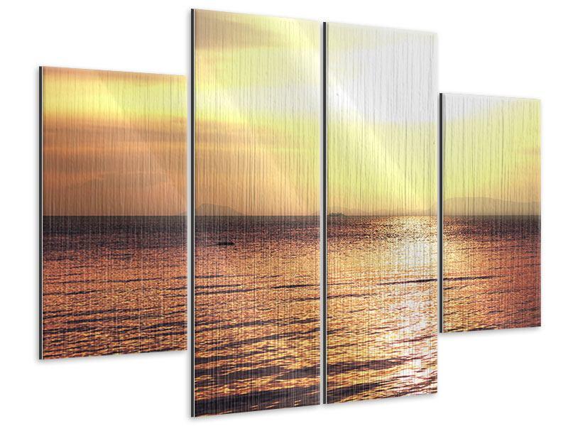 Metallic-Bild 4-teilig Sonnenuntergang an der See